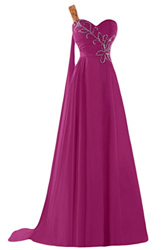 Sunvary A-line uno spalla Chiffon con perline Sbuffi Evening Dresses Homecoming Gowns Fuchsia