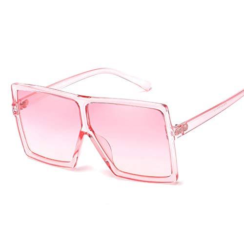 CCGSDJ Übergroße Frauen Sonnenbrille Frauen Männer Rosa Farbverlauf Shades Sonnenbrille Große Flache Oberseite Platz Transparent Rahmen