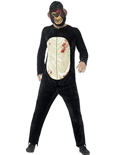 costumebakery - Herren Männer Kostüm blutiger Horror Plüsch AFFE Schimpanse Overall Einteiler Onesie, Bloody Zombie Chimp Monkey, perfekt für Halloween Karneval und Fasching, L, - Zombie Schimpanse Für Erwachsene Kostüm