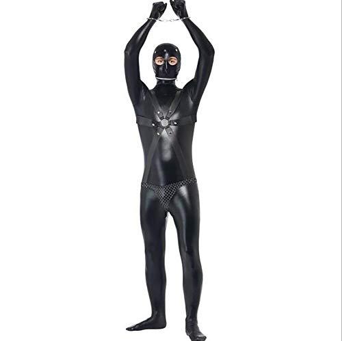 SHANGXIAN Latex Catsuit Kostüme Cosplay Prisoner Bodysuit Unheimlich Maskiert Schwarz Halloween Kunstleder Overall,Black,M
