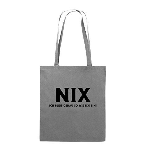 Comedy Bags - NIX ICH BLEIB GENAU SO - Jutebeutel - lange Henkel - 38x42cm - Farbe: Schwarz / Silber Dunkelgrau / Schwarz