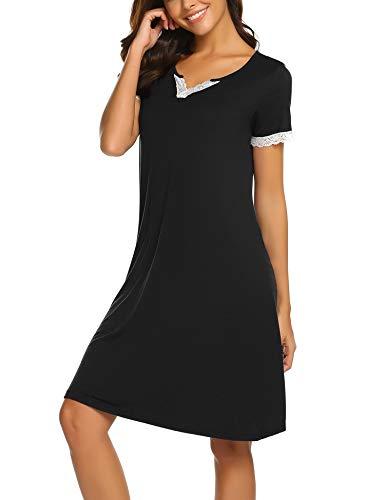 MAXMODA Nachthemd Damen Nachthemden Kurzarm Nachtwäsche Baumwolle Schlafshirt Nachtkleid Negligee Sexy Sleepshirt für Frauen -S