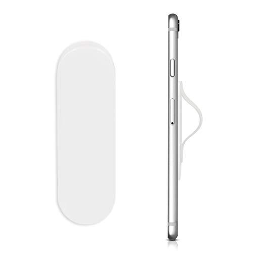 kwmobile Smartphone Fingerhalter Griff aus Silikon - Selbstklebende Handy Fingerhalterung - hält in KFZ Lüftungsschlitz Weiß -