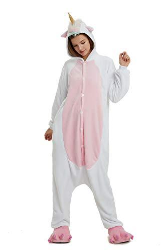(Hycomell Einhorn Pyjamas Onesie für Erwachsene Kinder Verbesserung Flanell Kigurumi Anime Spielerisch Stil Jumpsuit Pyjamas Einhorn Nachtwäsche Kostm für Cosplay Fasching Halloween Performance)