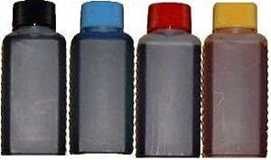 Spar-Set 400 ml Nachfülltinte (100ml schwarz, 100ml cyan, 100ml magenta, 100ml gelb) für Druckerpatronen/Drucker von HP mit 4 Spritzen und 4 Kanülen