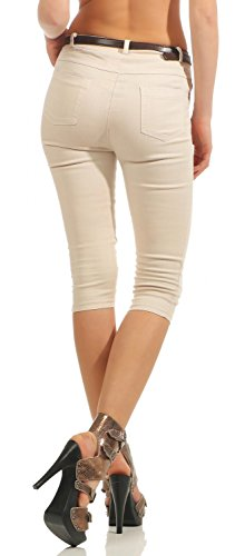 Damen Capri Jeans Capri-Hose Bermuda Kurze Hose inkl. Gürtel (570)