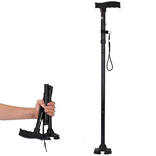 Chucksss-DS-00026 Faltbarer Gehstock für Männer, Frauen - faltbar, zusammenklappbar, leicht, verstellbar, tragbar - Balancing-Mobilitätshilfe - schlanke, komfortable T-Griffe (schwarz) - Faltbare Quad Cane