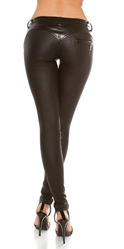 Elegante Lederlook Hose mit Wetlook-Einsatz Schwarz
