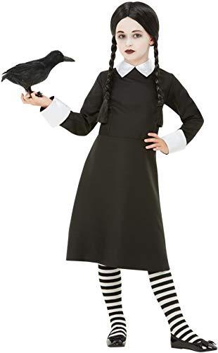 Fancy Ole - Mädchen Girl Kinder Gothic School Girl Schulmädchen Kostüm, Kleid und Perücke, perfekt für Halloween Karneval und Fasching, 104-116, Schwarz