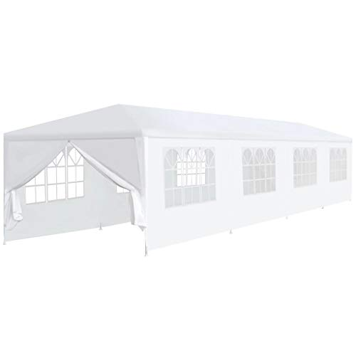 UBaymax Partyzelt Pavillon, 12 x 3 m Hochwertiges Faltpavillon PE Plane Wasserdicht UV Schutz Festzelt Gartenzelt Sonnenschutz für Garten Terrasse Feier Markt, Weiß