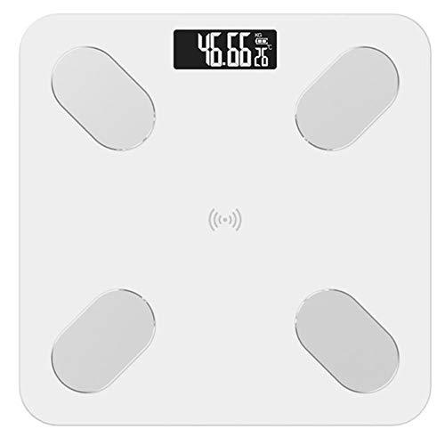 XIAOYH Smart Badezimmerwaagen, Präzise Elektronische Digital-Waage Fett/Muskel/Viszeralfett-Wiegende Skala Bluetooth APP,Weiß