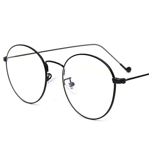 Shiduoli Retro Runde Brille Frame Clear Lens Glasses Brillen ohne Rezept für Damen, Männer (Color : Black)
