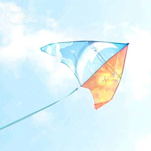 Moon & Sun Stunt Cool Kite Manija Línea Carrete Deporte Kitesurf Parapente Manga de viento Fácil de volar Cometas de juguete Regalo para niños Diversión al aire libre Tamaño: 130 cm An x 65 cm Alt.