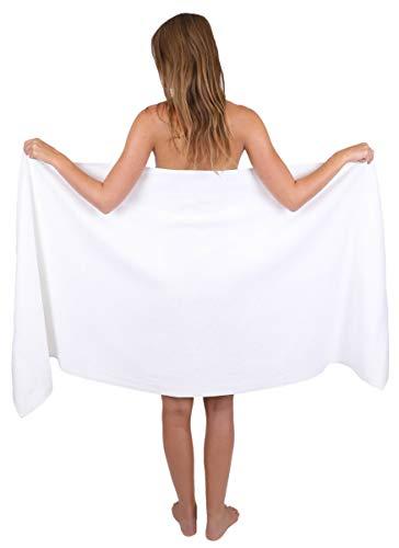 Betz Saunatuch Badetuch groß XXL Größe 80 x 200 cm Badetücher Saunatücher Palermo 100% Baumwolle Farbe weiß