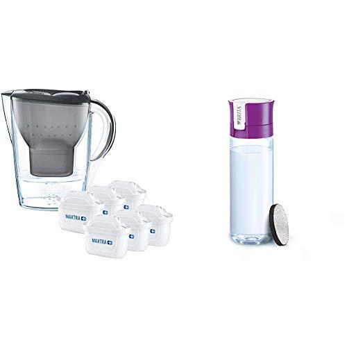 Brita Wasserfilter Marella graphitgrau inkl. 6 Maxtra+ Filterkartuschen + Fill&Go Vital Wasserfilter-Flasche, lila - Lila Flasche Brita-wasser
