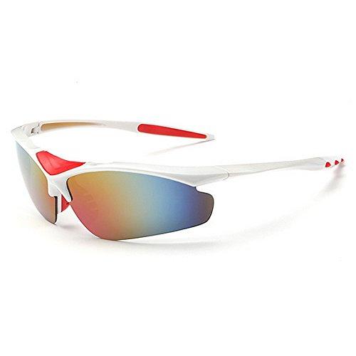 Yiph-Sunglass Sonnenbrillen Mode Rahmenlose Sport-Sonnenbrille mit 5-teiligen austauschbaren Gläsern für Männer, Frauen, UV-Schutz, Sonnenbrille (Farbe : Weiß)