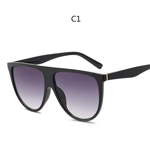 ZHOUYF Sonnenbrille Fahrerbrille Kim Kardashian Sonnenbrillen Vintage Retro Flache Oberseite Thin Shadow Sonnenbrille Quadrat Pilot Luxus Designer Große Schwarze Sonnenbrille, A