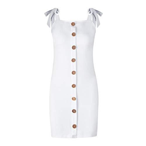 DELI Strap Minikleid Frauen Square Neck Rückenfreies Schnürkleid Weich Elastischer Knopf Party Club Damen Kleid Chiffon Square Neck