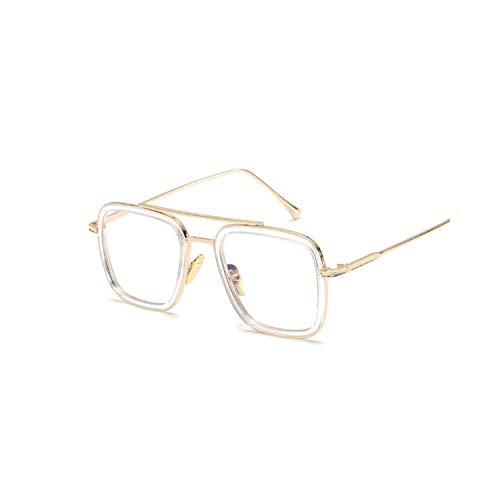 Sportbrillen, Angeln Golfbrille,Sunglasses Men Vintage Brand Designer Coating Sun Glasses Women Retro Double Beam Glasses Shades UV400 Clear frame