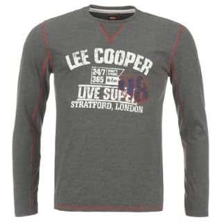 Lee Cooper Large Logo Long Sleeve T Shirt Mens Charcoal Marl Large