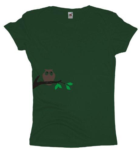 Ma2ca - Eule auf Ast - Damen Girlie T-Shirt Bottle Green
