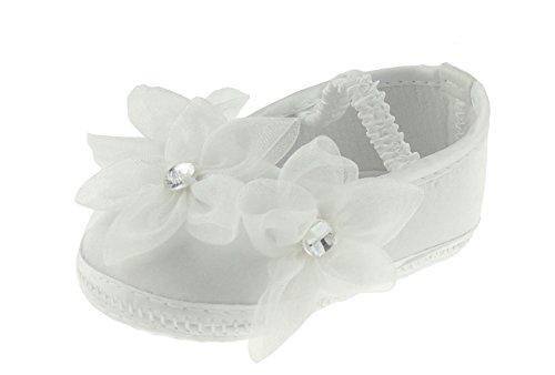 Beautiful Baby Mädchen Bridal White Taufe Chiffon Blume Diamant Elastic Sandalen Schuhe Gr. 9-12 Monate, Weiß - Weiß
