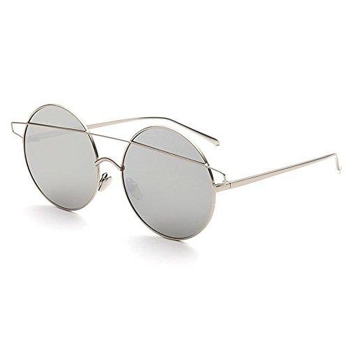 Yiph-Sunglass Sonnenbrillen Mode Retro Runde Metall voll umrandeten Sonnenbrillen für Frauen Männer UV-Schutz für Outdoor Driving Ferien Sommer Strand (Farbe : Silber)
