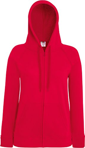 Fruit of the Loom Lady-Fit Lightweight Hooded Sweat Jacket 62-150-0 S,Red (Red-raglan-Ärmel)