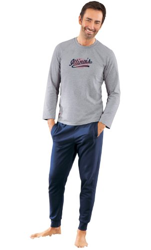 Ringella Langarmshirt mit Druckmotiv unter.Rand links & Brustmitte Single-Jersey Grau Meliert