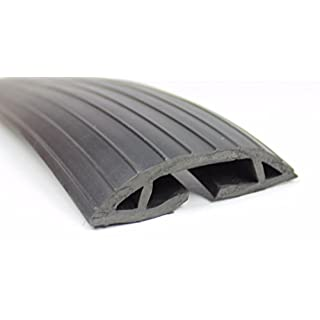 Large 38x16mm Black Floor Cable Wire Lead Tidy Cover Trunking Protector Bumper Ramp Strip (1 Metre)