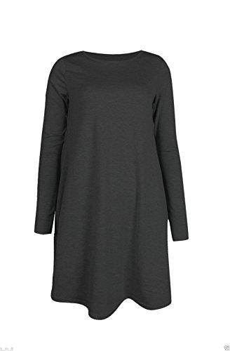 RE Tech UK Langärmliges Damen Midi einfarbig ausgestellt eine Linie Skater Swing Kleid Jersey T-Shirt Dunkelgrau
