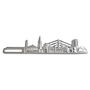 Unbekannt Düsseldorf Krawattennadel Krawattenklammer 6,7 cm Skyline silbern glänzend inkl. Silberbox