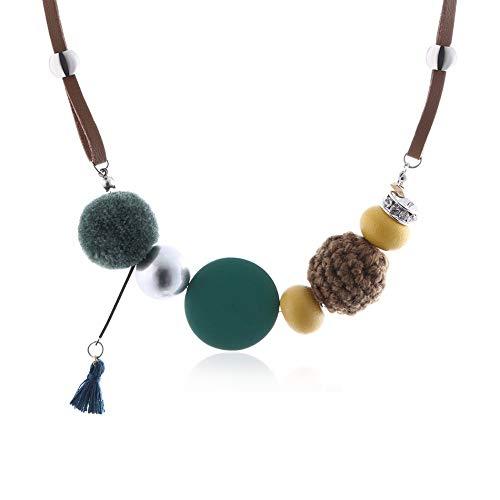 XZZZBXL Damenhalskette Frauen Halskette Erklärung Halsketten & Anhänger Holz Perlen Fuzzy Kugeln Halskette für Frauen Schmuck