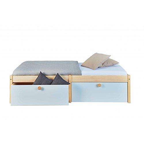 Twin-betten Schubladen (Inter Link Funktionsbett inkl. 2 Schubladen Schubkasten ausziehbar Massivholz Natur weiß 90 x 200 cm Kinderzimmer Jugendzimmer Schlafzimmer)