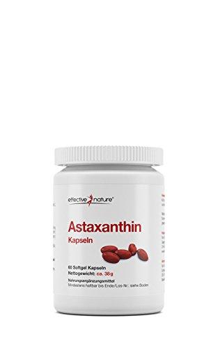 effective nature Astaxanthin Kapseln - Antioxidantien aus natürlichem Astaxanthin der Mikroalge mit Vitamin C und E - 60 Vegane Power-Kapseln