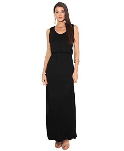 Plus Size Maxi Kleid - 3288-BLK-14: Sommer Maxi Kleid Strandkleid Ärmellos: