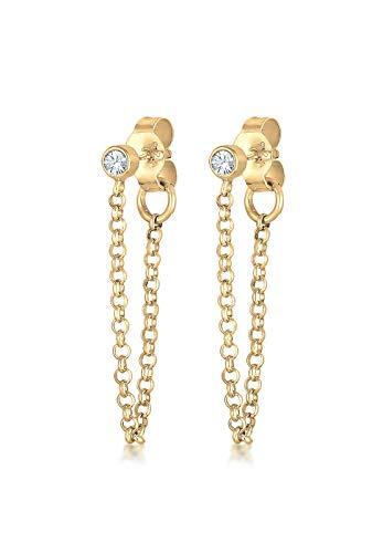 Elli Damen-Kette Geo Filigran Elegant vergoldet silber 925 Swarovski Kristall 0301330417 - cm Länge