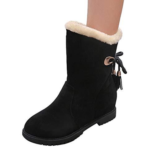 Dooxi Mujer Invierno Antideslizante Nieve Botas Moda Atada Botines Casual Calentar Forrado Zapatos Negro 37