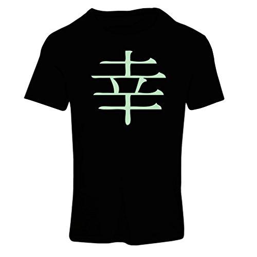 Frauen T-Shirt Glücklogogram - Chinesisches/Japanisches Kanji-Symbol (X-Large Schwarz Fluoreszierend)