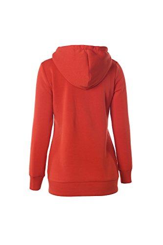 Les Femmes Les Pull - Over Toison Pleine Sweat Zippé Gilet Sweat - Shirts Maxi Orange