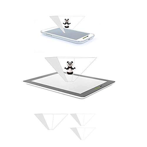 GREEN24 purital® 3D Hologramme Pyramide de Projection d'écran pour téléphone Portable Smartphone et Tablette - Laser Holographic Dual Set 2er Smartphone 1er Tablet
