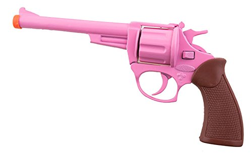 Halloweenia - Spielzeug Revolver Pistole Metall- Cowgirlkostüm Bardame Räuber Mafia Lady Kostüm, 19cm, Rosa (Womens Roman Gladiator Kostüm)