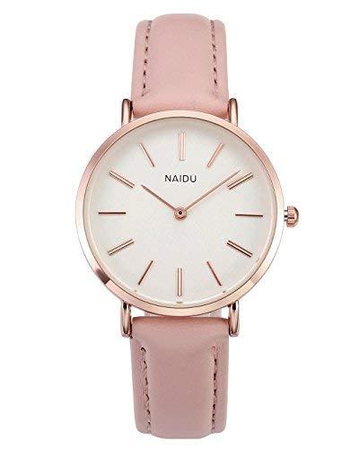 JSDDE Uhren Cute Candy Farbe Damenuhr Armbanduhr Farbverlauf Kontrastfarbe Analog Quarzuhr Lederband Kleideruhr für Frauen Mädchen (Pink)