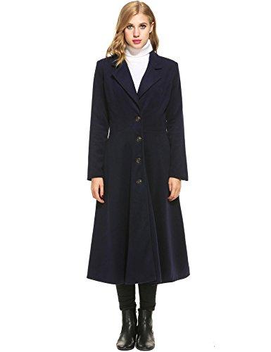 Tomasa Damen Lange Wintermantel Trenchcoat Herbst Winter Mantel A Linie Winterjacken Lady Solid Jacke   XL,   Blau