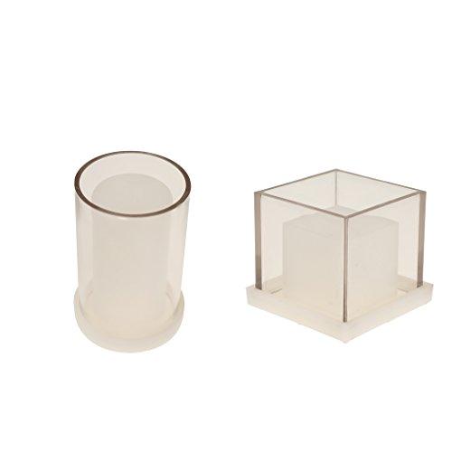 F Fityle 2 Pièces Creux Cube Carré Cylindre En Forme De Bougie Fabrication De Moules DIY Main Aromatherapy Bougie Bougie Parfumée Séché Fleur Moule Outils