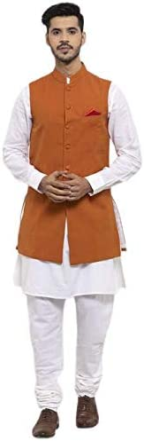 NEUDIS by Dhrohar Cotton Long Nehru Jacket With Kurta Pajama For Men -Orange
