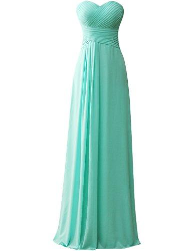HUINI Tr?gerlos Kleid der Brautjungfer Lange Chiffon Abendkleid Ballkleid T¨¹rkis