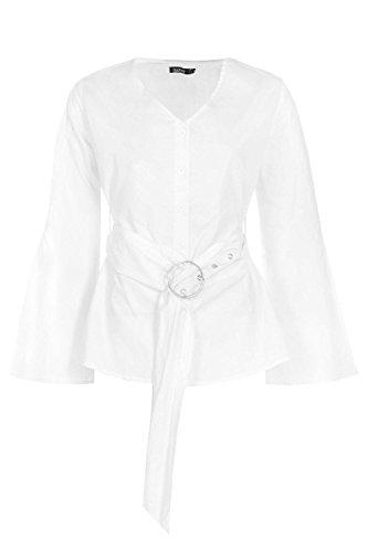 blanc Femmes Holly Chemise Ceinturée À Manches Fendues Blanc