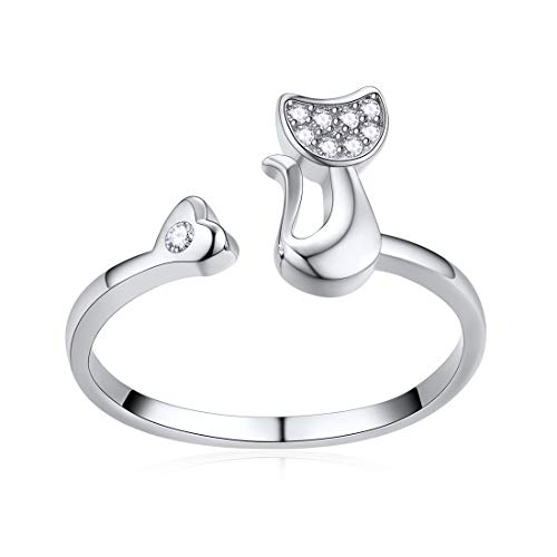 ChicSilver Niedliche Katzen-Ringe für Frauen Mädchen 925 Sterling Silber Schmuck CZ offen Tier Ring Weihnachten Geburtstag Geschenk ... ...