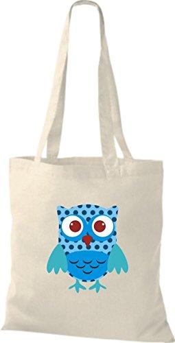 ShirtInStyle Jute Stoffbeutel Bunte Eule niedliche Tragetasche mit Punkte Karos streifen Owl Retro diverse Farbe, braun natur